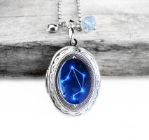 Constellation Libra Resin Oval Locket Necklace by crystaland