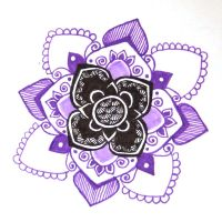 Purple black mandala zentangle by yael360
