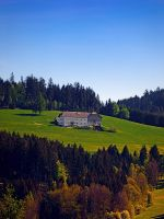A farm, blue sky and some panorama by patrickjobst