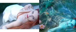 Before and after 'Blue Mermaid* by KarinClaessonArt
