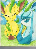 leafeon and glaceon by KikiFlamer