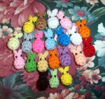 EasterBeans - BunniBeans tiny plushies by happysquidmuffin