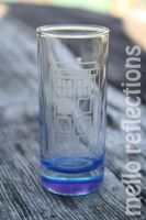 Etched Tardis shot glass by MelloReflections