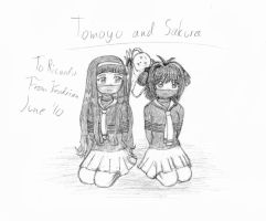 Tomoyo and Sakura tied up by KendrianSketches