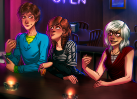 Commission - Friends at a bar by AngelLust155