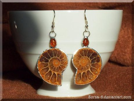 Earrings with Ammonite by Zorza-6