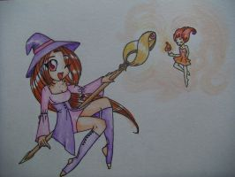 Witch and fire fairy by ava-angel