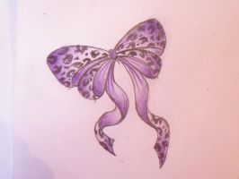 Purple Leopard Print Bow by Cupcake-Lakai