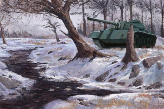 Tank in snow by Guy-Mandude