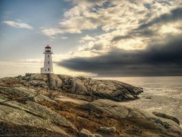 Peggys Cove Lighthouse in April by ShawnaMac