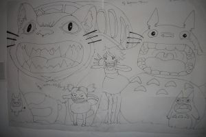 Totoro and Catbus on my wall by CandyElmo