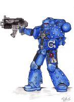 Ultramarine Space marine Mark V armour Commission by Laura-Bosley