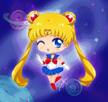 Sailor Moon chibi in the space by Atsuky