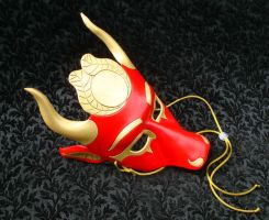 Hathor Leather Mask, red and gold by merimask