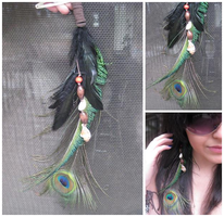 Peacock Feather Hair Clip by starry-eyedkid