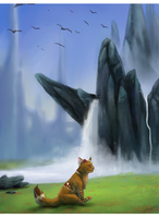 Kissa on waterfall by LowerSun