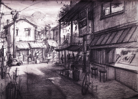 Street Scene Sketch by Adimono