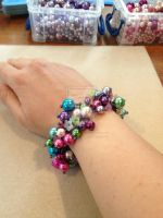Flower Bracelet - Seed Beads and Pearls by WhiteMagicPriestess