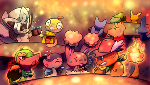 Party at the Cafe -collab- by crayon-chewer