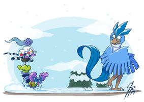PKMNC - Riding to the Snowball War by TamarinFrog