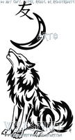 Wolf Moon And Kanji Tattoo by WildSpiritWolf