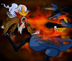 entei vs lucario by blackwinged-neotu