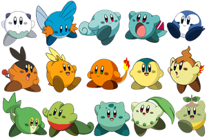 Pokemon Starters Kirbies by LelaKaramela