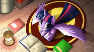 Twilight Sparkle Reading 16:9 by mysticalpha
