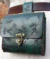 Green floral bag, rust stitch by EarthlyLeatherDesign
