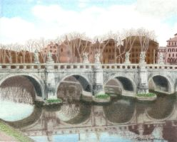 Castel S Angelo Bridge by ArtbyRonine