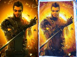 Adam Jensen - Cross Stitch Project Update 21 by Snake-Fangirl