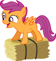 Scootaloo Loves her Haybale by scienceisanart