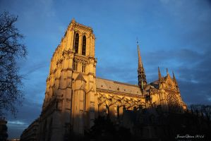 Sunset on the Notre Dame by JQ444