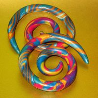 Oh My Mardi Gras - clay gauges 0G blue gold by ClayGauged