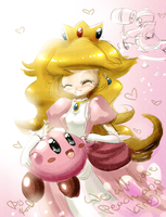 youtube doodle II Peach Kirby by EvilQueenie