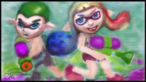 Splatoon Suicide Squad Squid Boy and Girl by EdjKa