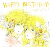 Happy Birthday Rin and Len!!! by xPsyren