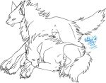 Two wolves Lineart by BRW-Doraigaa