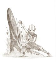 Aang earthbending by Azulera