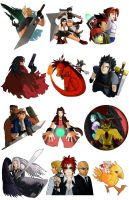 FFVII Pins Complete by Kenisu-of-Dragons
