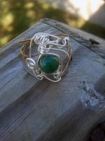 Silver and Emerald gemstone ring by WyckedDreamsDesigns