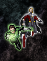 Green Lantern and Quasar by SUPERMAN3D
