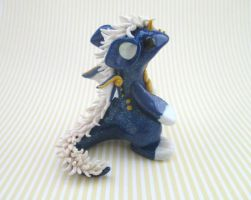 Glitter Blue Dragon with white mane by KriannaCrafts
