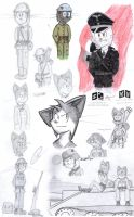 Sketch dump with army cats by ZiizV