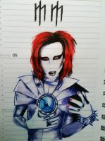 Marilyn manson pen drawing by evelynsixx