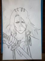 Kuchiki Byakuya new look (LINE ART) by master-cartoonist