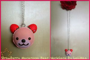 Strawberry Macaroon Bear Necklace by LeiiMaa