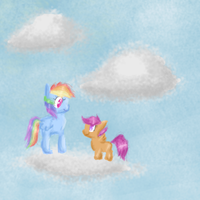 Rainbow Dash and Scootaloo on clouds by Bewolkt