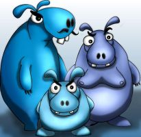 Triple Hippos by jufe