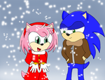 1 Sonic and Amy Snowfall by Krispina-The-Derp